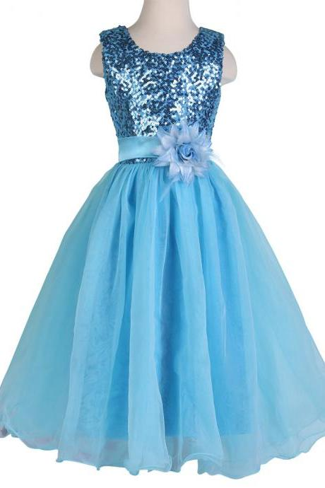flower girl dress,flower girl dresses,children party dress,girl dress,kids dress,cheap girl dresses,custom flower girl dress,girl party dress,girl homecoming dresses,bridesmaid dresses 2015 flower girl dresses Blue Sleeveless Sequined Flower Girl Princess Bridesmaid Wedding Pageant Party Dress
